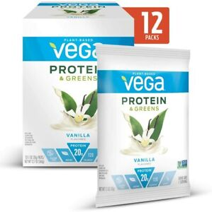 Vega Plant Protein & Greens Vanilla Gluten Free Non GMO 12 Single-Serving Packs