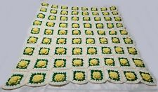 Vintage HANDMADE Crochet AFGHAN Knit FLOWERS Quilt Bed BLANKET Throw Yellow