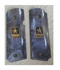 AJAX Grips for 1911 Government - BLACK Pearlite w/ NEW US ARMY LOGO COIN