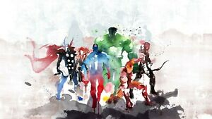 Marvel Superhero Watercolour Childrens Room Wall Art Large Framed Canvas Picture
