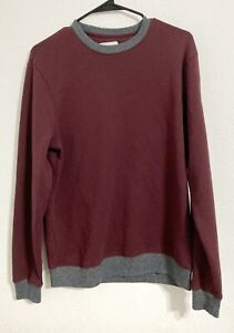 Old Navy, Men Long Sleeve Maroon and Gray Solid Color Block Sweatshirt, Medium