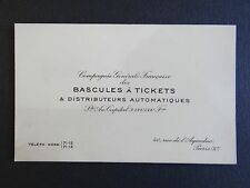 Ancienne carte de visite BASCULES A TICKET DISTRIBUTEUR PARIS old visit card
