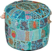 "22"" Patchwork Handmade Foot Stool Bohemian Indian Pouf Turquoise Ottoman Ethnic"