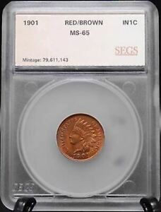 1901 Indian Head Penny Cent - Gem UNC - Red Brown