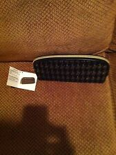 Houndstooth Cosmetic Travel Pencil Case Black Gold NWT