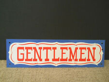 "Vintage Gentlemen Thin Aluminum Metal Sign Blue Red White 4"" X 14"""