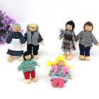 Kids Wooden Furniture Dollhouse Miniature 6 Family Dolls for Children