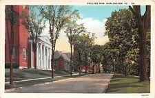 Vermont postcard Burlington College Row