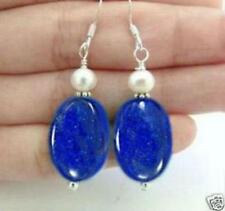 Beautiful Freshwater White pearl blue lapis lazuli Silver hook Earrings