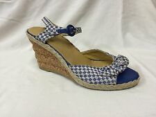 CHARLES  JOURDAN  BLUE&WHTE CECKERED WEDGE Size 8