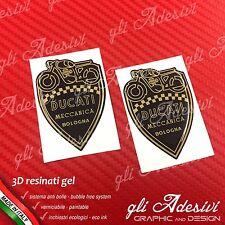 2 Adesivi Resinati Sticker 3D Ducati Meccanica Scudetto Nero e Oro 30 mm