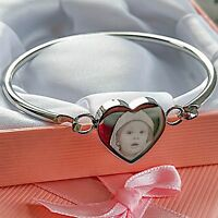 Steel Heart Bangle / Bracelet Photo Engraved Personalised Mother's day gift