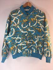 Vintage Anne Klein II Bomber Jacket Silk Medium All Over Print Chain Blue Coat