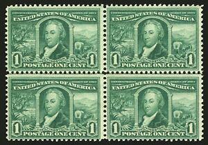 US #323 1c Green 1904 Louisiana Exposition Center Line Block of 4 CV $180+