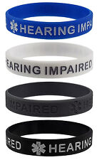 HEARING IMPAIRED Medical Alert ID Silicone Bracelets Adult Size (4 Pack)