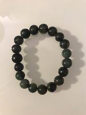 "Handmade Natural Green Jade Stretchy Bracelet 7.5"" From Myanmar/Burma"