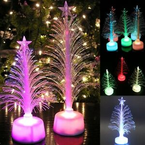 Colored Fiber Optic LED Light-up Mini Christmas Tree with Top Star Handmade