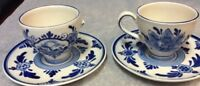 Pair of Hand Painted Blue Delft Tea Cup & Saucer Chipped Broken