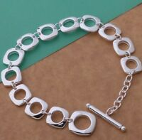 925 Sterling Silver Square  Charm Bracelet Bangle Pendant Chain Stunning Gift