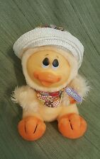 "Vtg NOS Dan Dee 10"" Spring plush Duck Rubber Face Straw Hat country Scarf Easter"