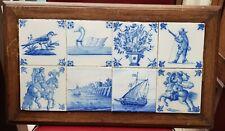 TILE TABLEAU WITH 8 ANTIQUE DUTCH DELFT BLUE WHITE TILES 18TH C PANEL