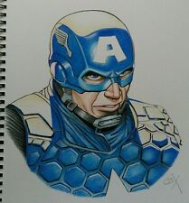 Handmade one of a kind Captain America portrait Colored pencil Art signed Marvel