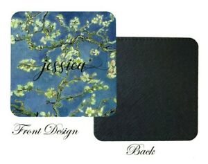 Van Gogh Almond Blossom Blue Coaster,Birthday,Home decor, Personalised with Name