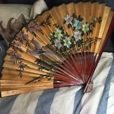 Vintage Large Gold Wall Fan Blossom Birds Oriental