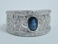 14K WHITE GOLD RING OVAL .60 CT BLUE SAPPHIRE 1/2 CTTW DIAMOND BAND 5.4g SZ 7.25