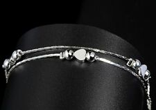 Women Fashion 925 Sterling Silver Plated Bead Heart Bangle Bracelet Anklet 24-4