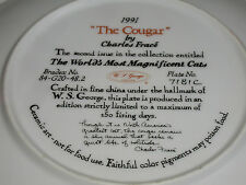 """""""THE COUGAR"""" PLATE  WORLDS'S MOST MAGNIFICENT CATS  COA CHARLES FRACE"""