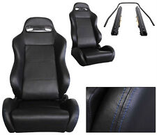 NEW 2 BLACK PVC LEATHER + BLUE STITCH & SLIDER RACING SEATS RECLINABLE ALL DODGE