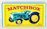 Matchbox Lesney No 50  JOHN DEERE LANZ 700 TRACTOR empty Repro E style Box