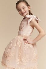 NEW Doloris Petunia blush peach Embroidered Tulle Bow Flower Girl Dress 8