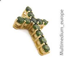 Kreuz Anhänger Silber vergoldet grün Turmalin ? cross pendant silver gilt green