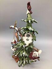 "Blue Sky Clayworks Woodland Christmas Tree Santa Tealight Candle Holder 12"" NEW"