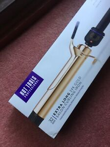 BNIB Hot Tools Professional 24k Gold Curling Iron Tongs 32mm Extra Long Barrel