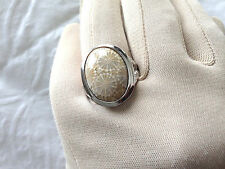 FOSSILIZED CORAL BOLD STERLING SILVER RING, SIZE 8 (M324-47)
