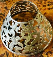 Antique Pierced Cut Metal Candle Lamp Shade Floral Filigree
