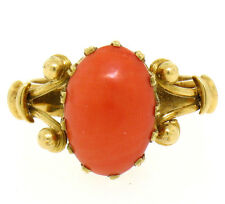 Vintage Estate Detailed Hand Made 18k Yellow Gold Oval Ox Blood Red Coral Ring