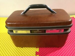 Sampsonite Brown Travel Carry On Make-Up Cosmetic Case No Key With Mirror & Tray
