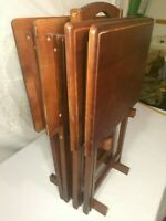 Vintage Wood TV Tray Set 4 with Stand