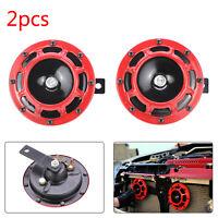 2X Red 12V 139dB Dual Car Grille Horn Compact Super Tone Loud Blast 118 139Db UK