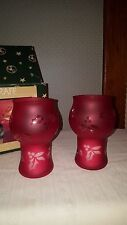Pfaltzgraff winterberry red holly berry mini floating pillar candle set of 2