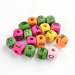 Mixed-Colour Wood Beads Cube 8mm Pack Of 50+