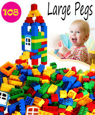Large Pegs Big Dots Building Bricks blocks,100 bricks, Compatible to Lego duplo