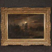 Antico dipinto paesaggio notturno quadro olio su tela cornice 800 XIX secolo