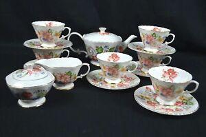 15 Pieces, Fine Bone China Tea Set, Flower Pattern