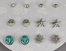 Silver Starfish earrings 6 pair Sea Life Star Anchor Ships Wheel post ball stud