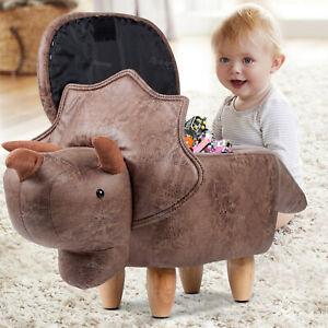 PU Leather Storage Footstools Triangle Dinosaur Beast Kids Ottomans Kids Gift UK